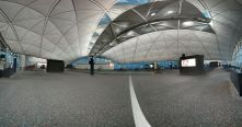 Hong Kong airport is already impressive with its vaulted ceilings that seem to curve around you. Shooting a pano of the environment just accentuates that.
