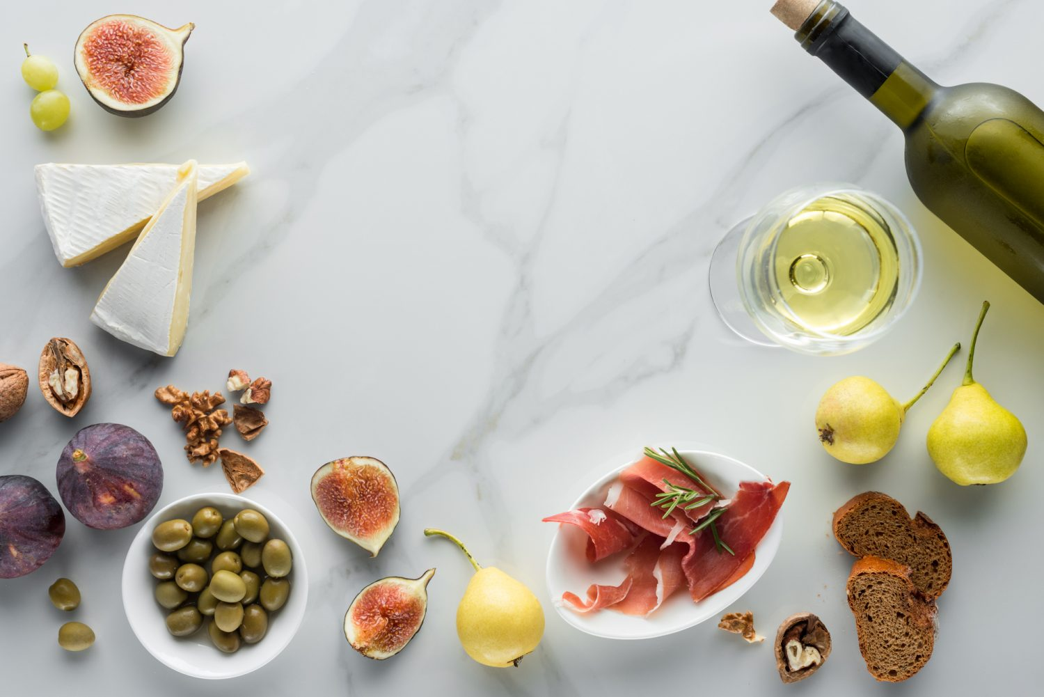 Brie cheese with jamon and figs