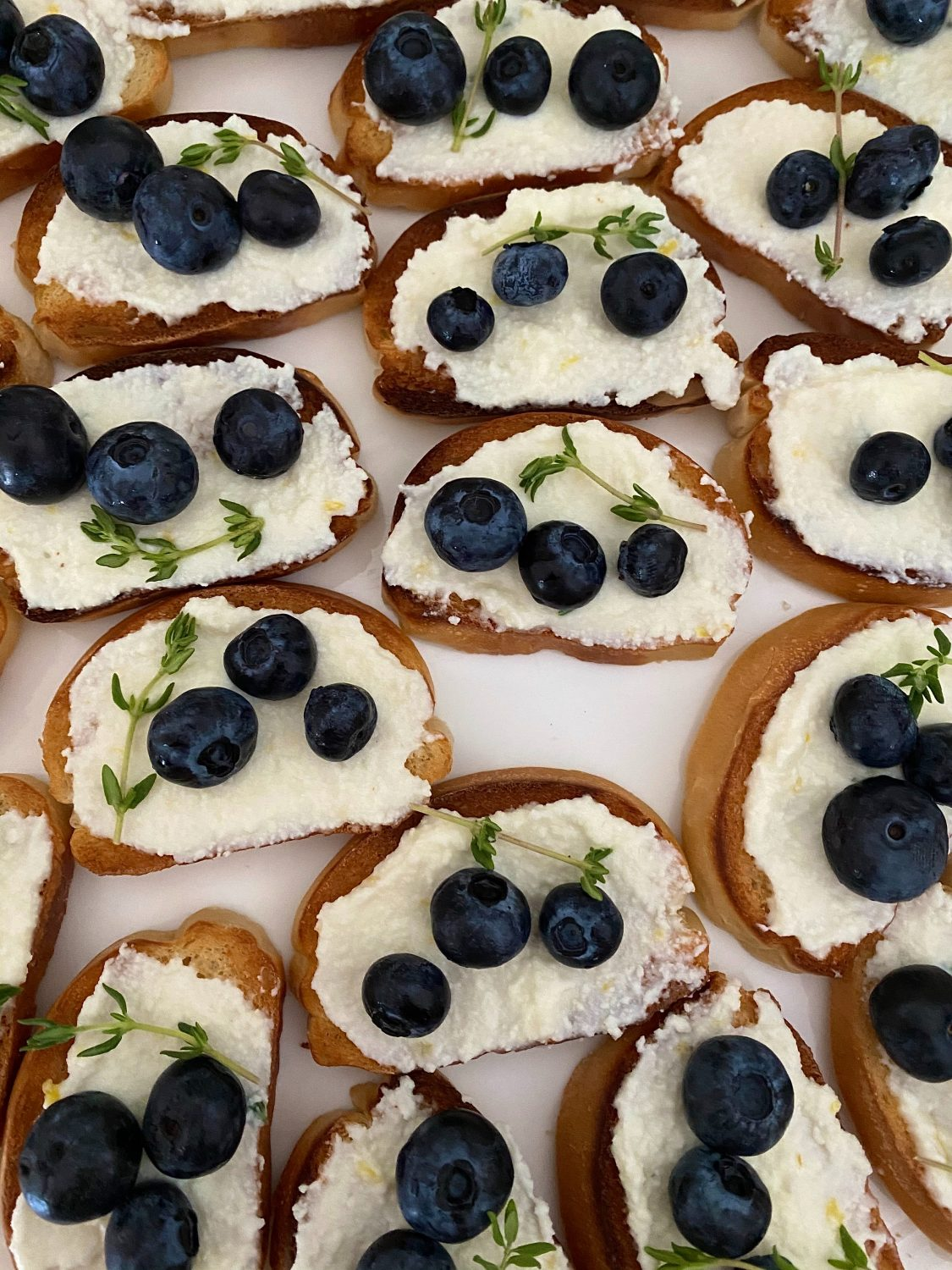 Ricotta cheese on crackers