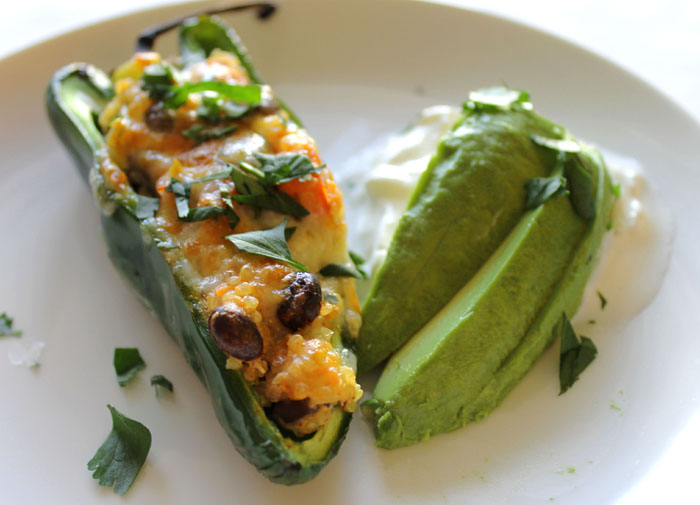 Quinoa & Black Bean Stuffed Poblano Peppers-Vegetarian and Gluten Free