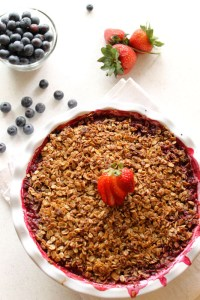 Blueberry, Strawberry, Rhubarb Crisp