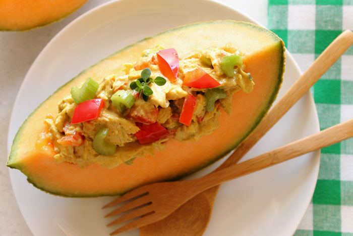 Curried Chicken Salad in Cantaloupe Boats