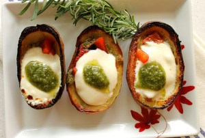 Pesto and Mozzarella-Stuffed Potato Skins