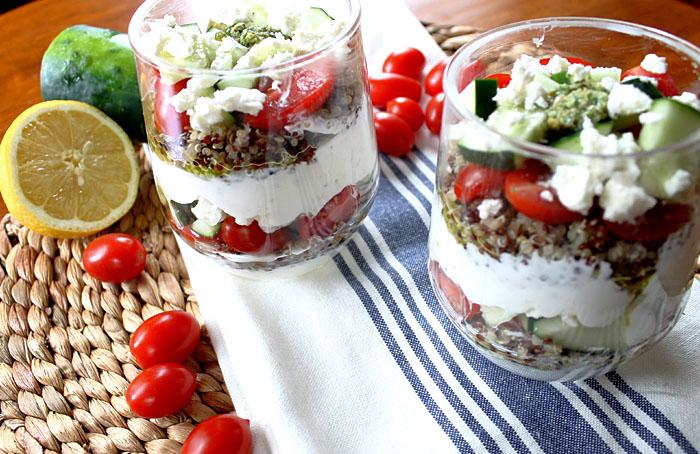 Savory Yogurt Parfait with Cherry Tomatoes and Basil Pesto