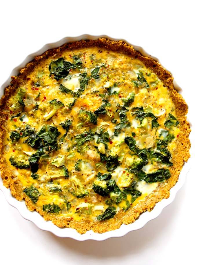 Broccoli and Kale Quiche with Quinoa Crust