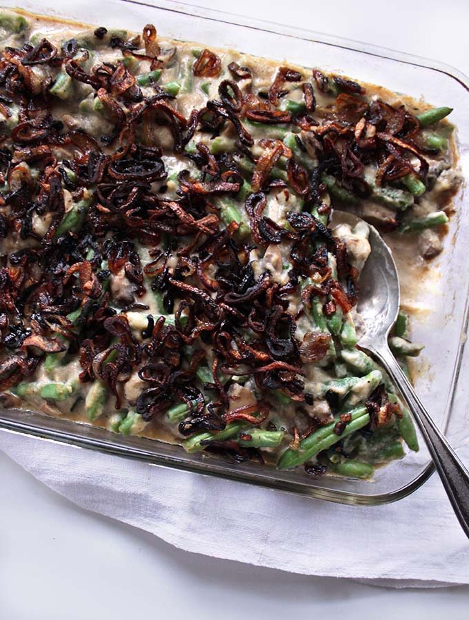 Green Bean Casserole with Creamy Cauliflower Sauce and Crispy Shallots