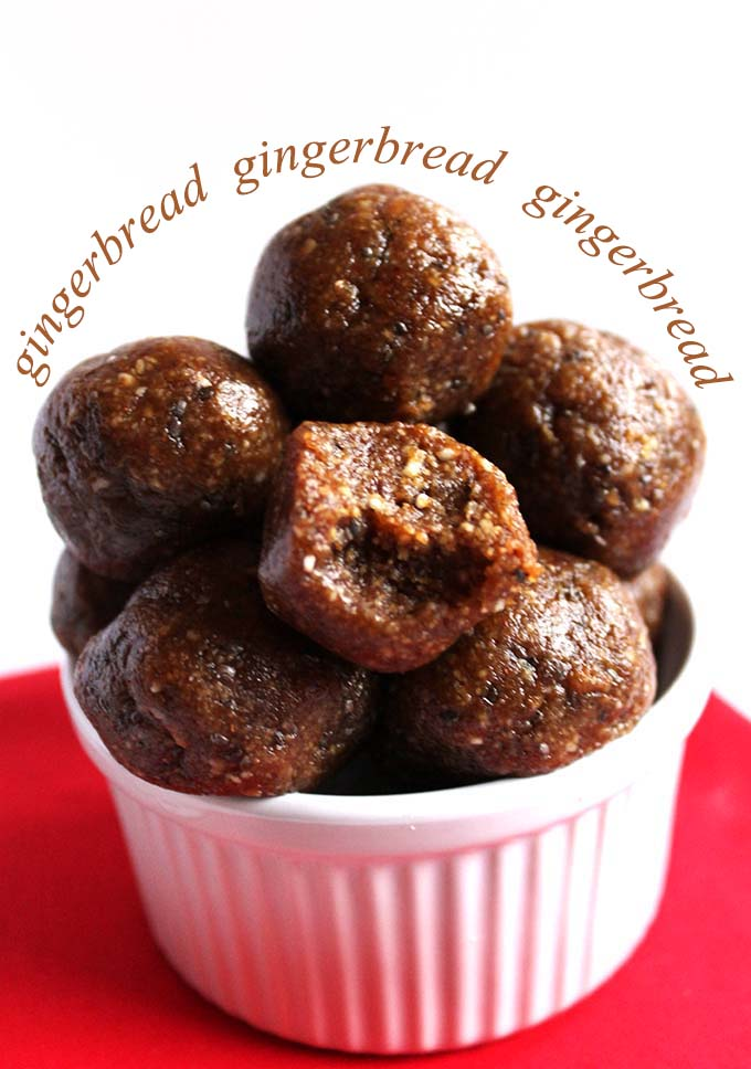 Raw Gingerbread Cookie Bites. Healthy. Satisfying. Easy. #Glutenfree #Vegan