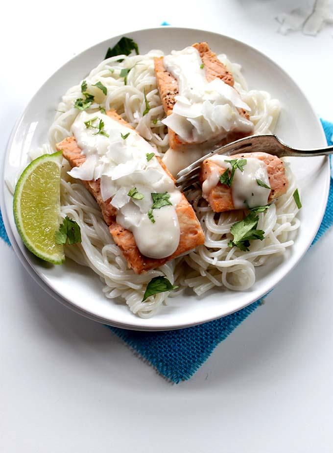 Salmon with Coconut Sauce. Simple. Healthy #glutenfree #salmon
