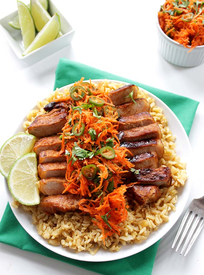 Vietnamese Pork Chops with Spicy Carrot Salad. Simple. Healthy. #glutenfree