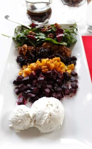 Deconstructed Honey Roasted Beet Salad with Whipped Goat Cheese