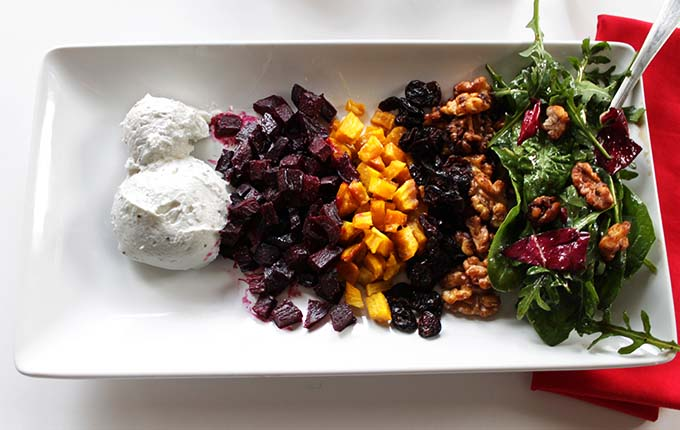 Deconstructed Honey Roasted Beet Salad with Whipped Goat Cheese. Elegent. Healthy. Simple. #vegetarian