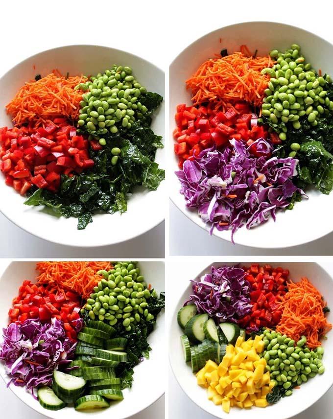 Kale Thai Salad with Peanut Dressing. Simple. Healthy. Satisfying. Easy. #glutenfree #vegetarian