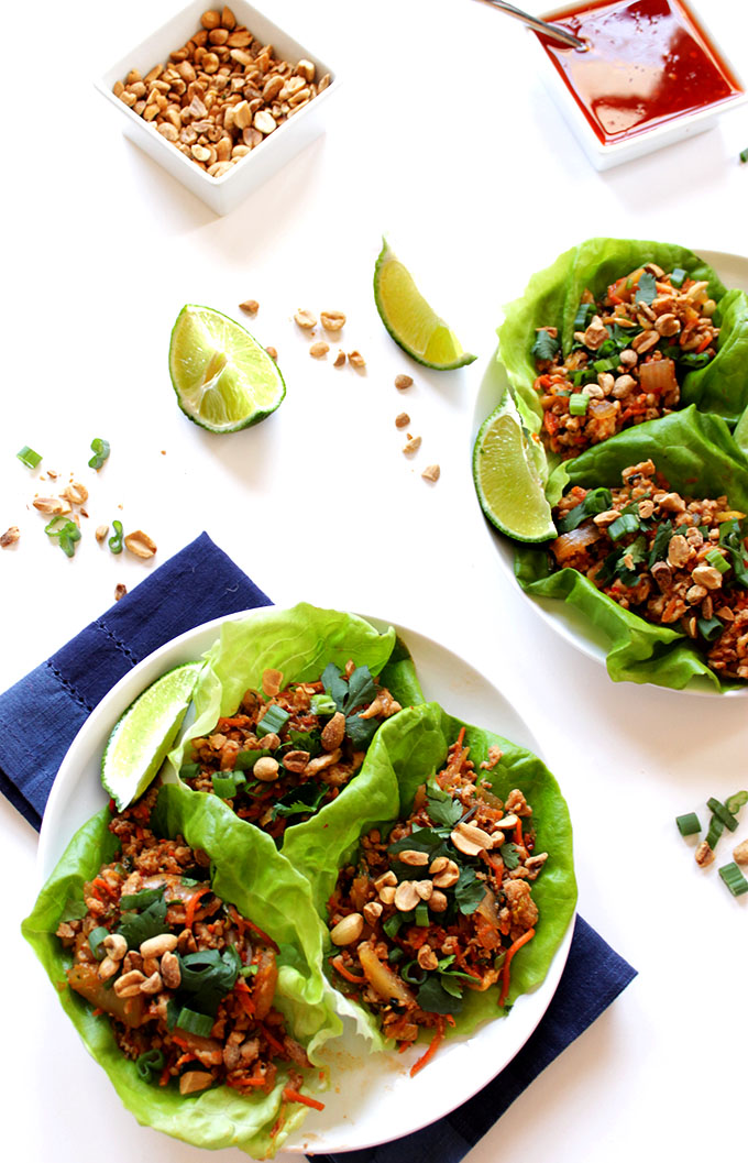 Thai Chicken Lettuce Wraps. Flavorful. Simple. Delicious #healthymeal