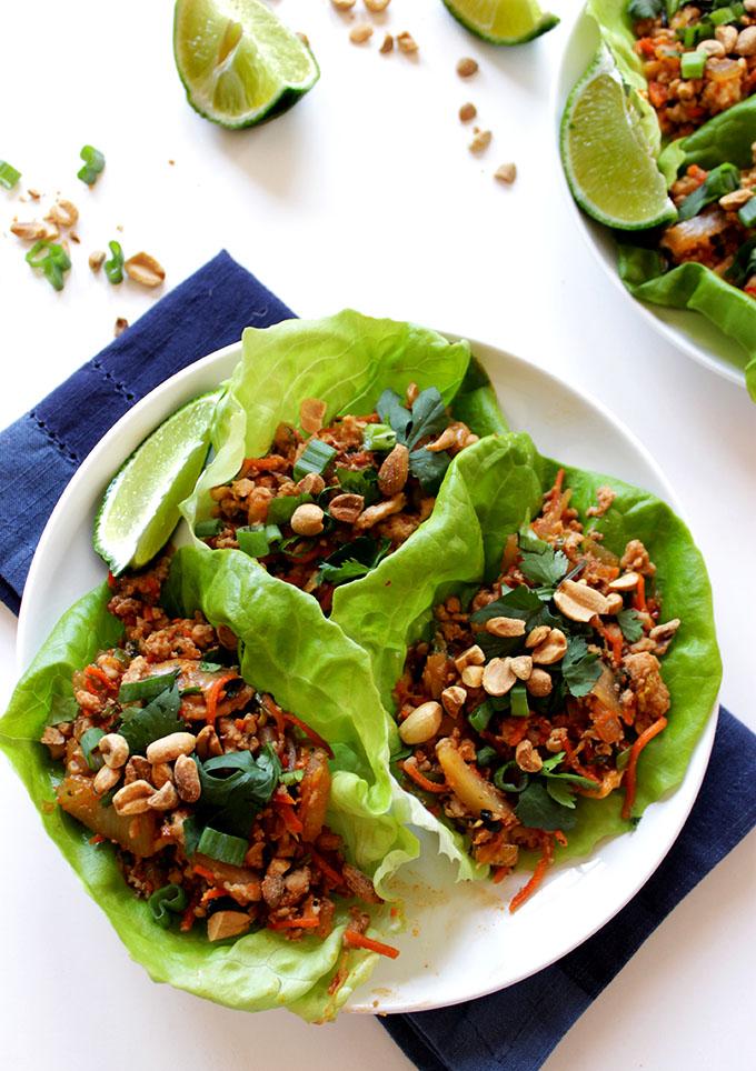 Thai Chicken Lettuce Wraps. Simple. Easy. #Glutenfree