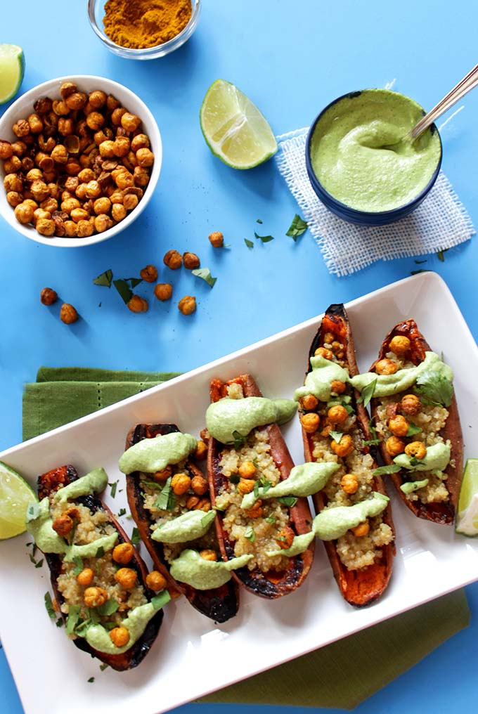 Coconut Quinoa Stuffed Sweet Potatoes with Cilantro Lime Sauce (GF)