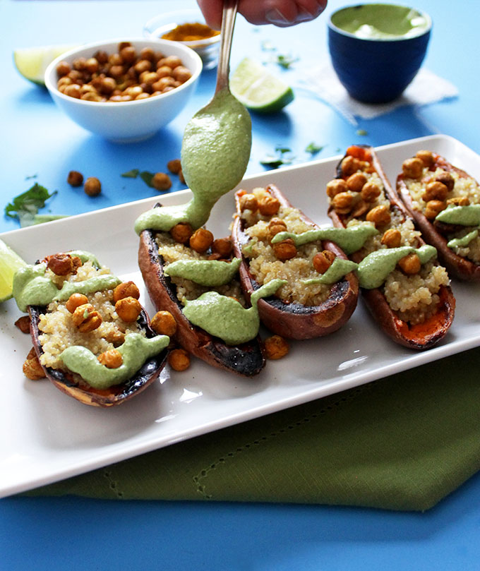 Coconut Quinoa Stuffed Sweet Potato Boats with Cilantro Lime Cashew Sauce. Healthy meal or appetizer. #glutenfree