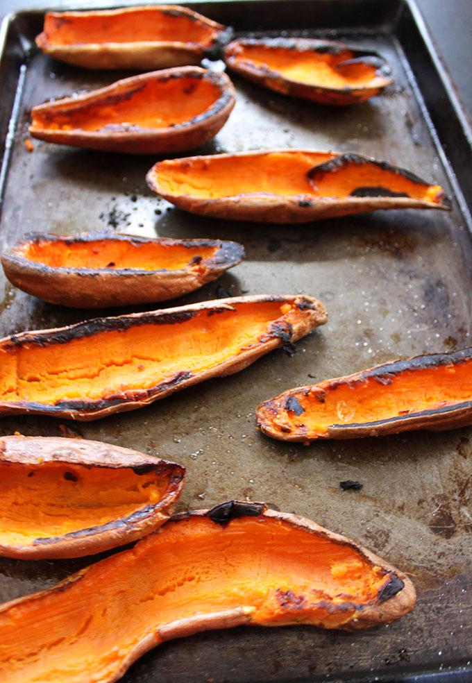 Coconut Quinoa Stuffed Sweet Potato Boats with Cilantro Lime Cashew Sauce