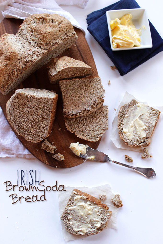 Irish Brown Soda Bread. Hearty. Easy to make. Slather with butter or Perfect to for dunking in soup. #HomemadeBread