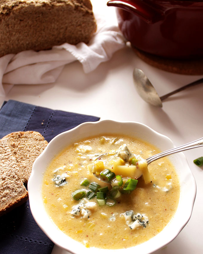 Leek Potato and Blue Cheese Soup. Easy. Delicious, Hearty. #vegetarian