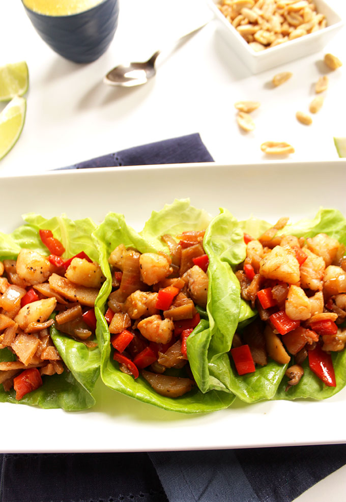 Shrimp Lettuce Wraps with Coconut Curry Sauce. Simple. Flavorful. Healthy. Easy to make. #glutenfree