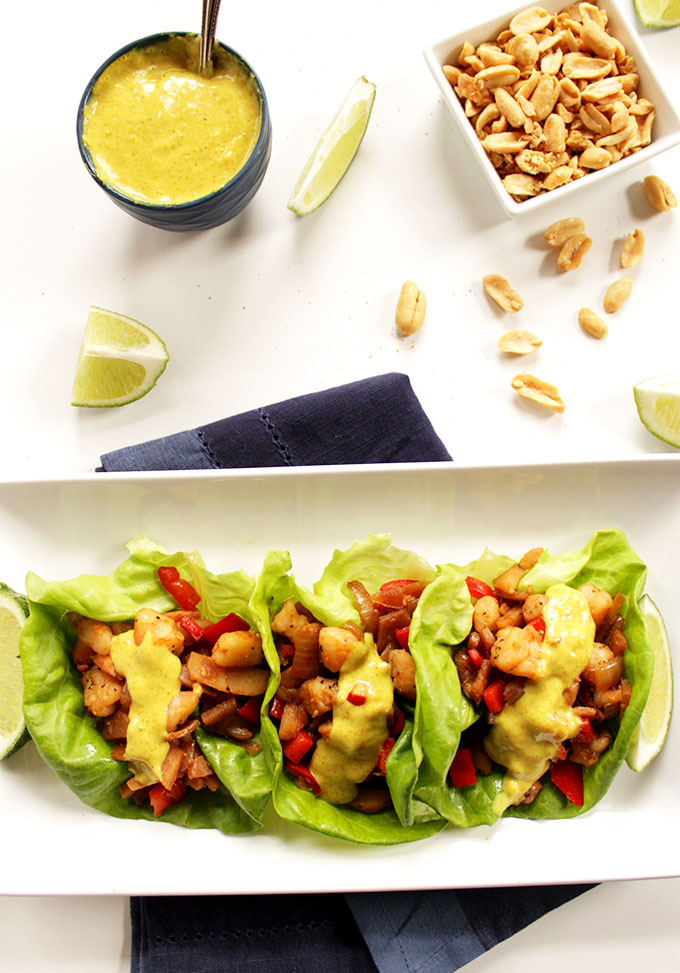 Shrimp Lettuce Wraps with Coconut curry Sauce. Simple. Easy. #glutenfree