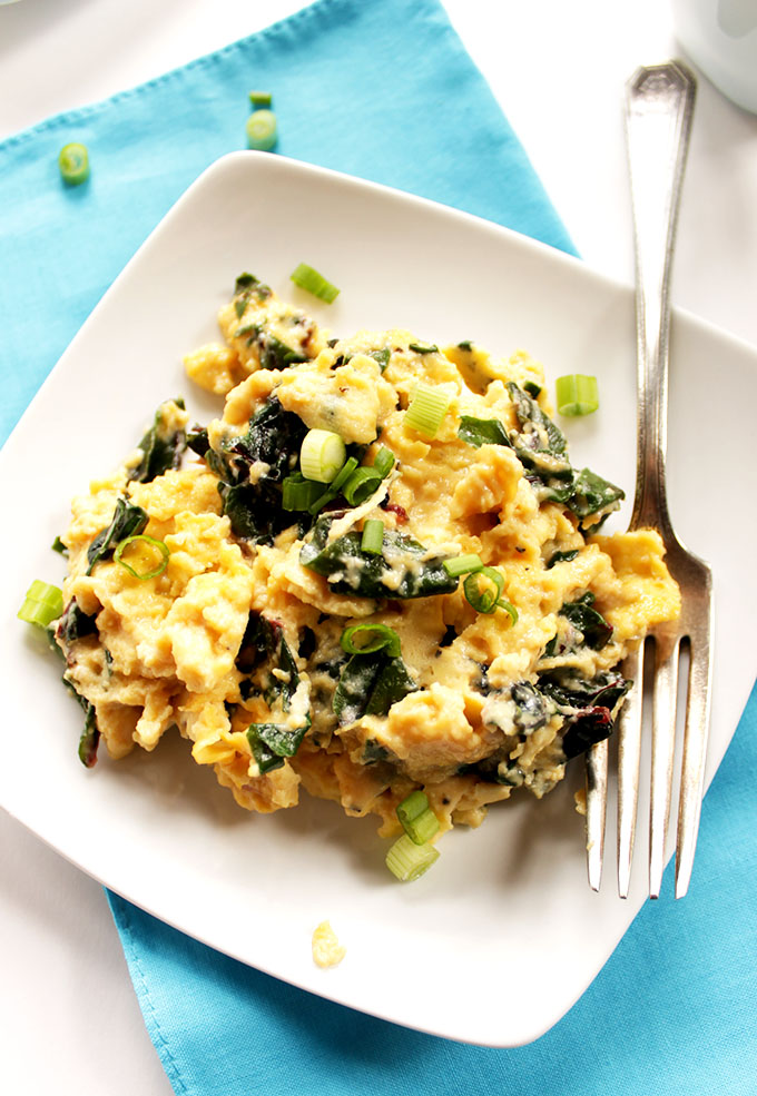 Goat Cheese Scrambled Eggs with Swiss Chard. Quick, Easy weekday #Breakfast. #glutenfree
