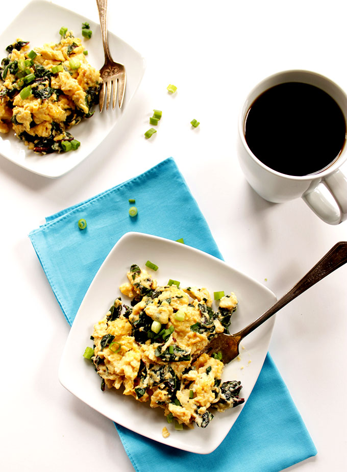 Goat Cheese Scrambled Eggs with Swiss Chard