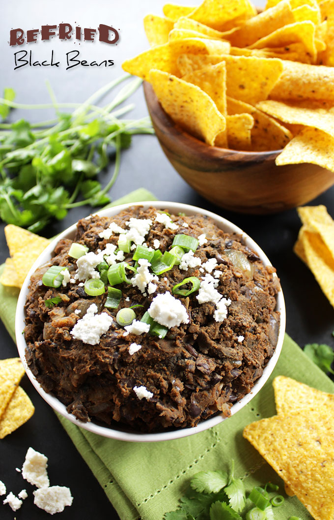Refried Black Beans. Quick and easy. Flavorful. Only takes 15 minutes to make. #glutenfree
