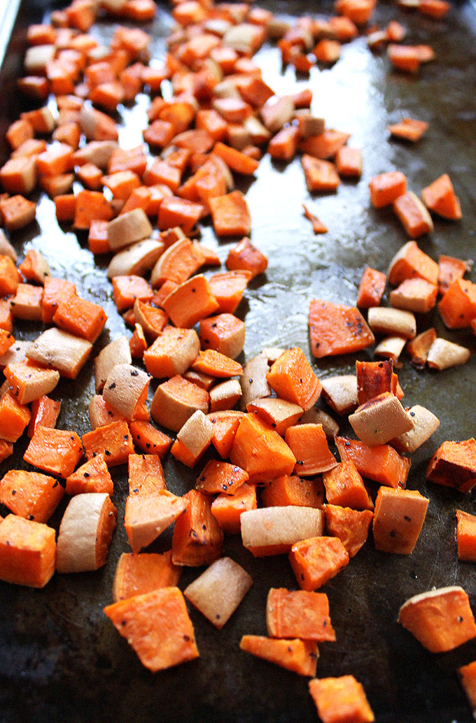 Roasted Sweet Potatoes for Warm Lentil and sweet Potato Kale Salad #vegan #glutenfree
