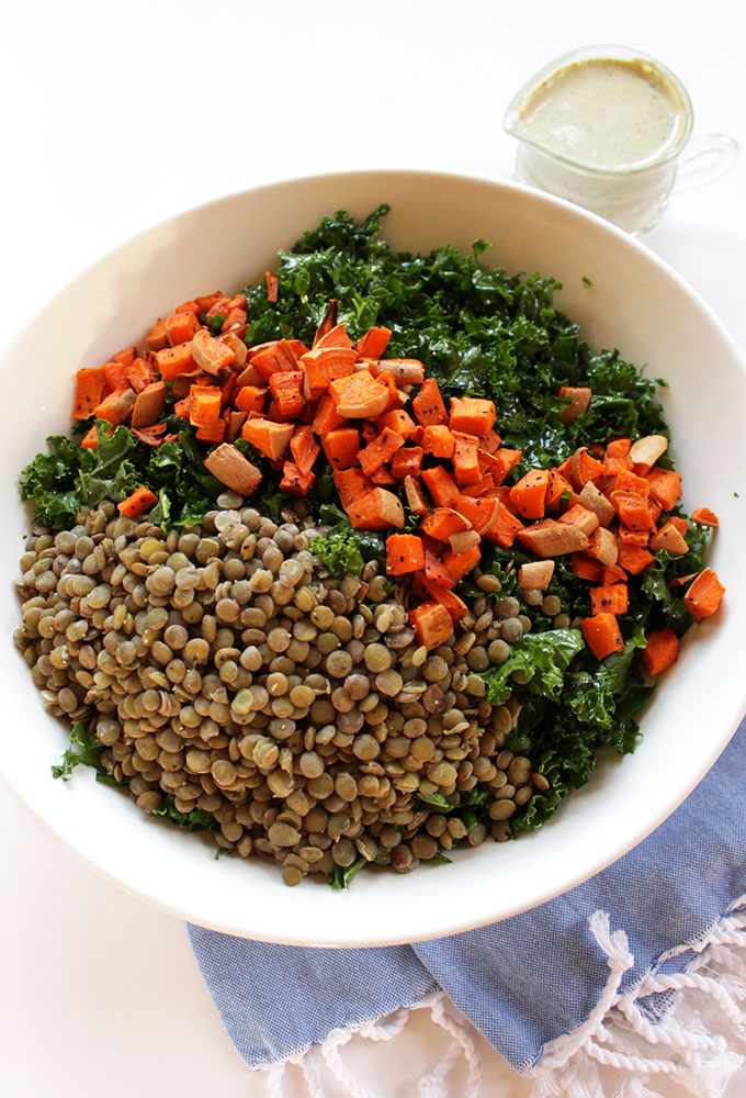 Warm Lentil and Sweet Potato Kale Salad. A comple Vegan meal. #vegan #glutenfree