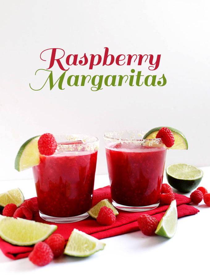 Fresh Raspberry Margaritas - EASY margaritas made with frozen raspberries, lime juice, agave nectar, and TEQUILA (duh!)! This cocktail recipe is perfect for summer. It's sweet, tart, and refreshing! Refined sugar free/Gluten Free/ Vegan. | robustrecipes.com