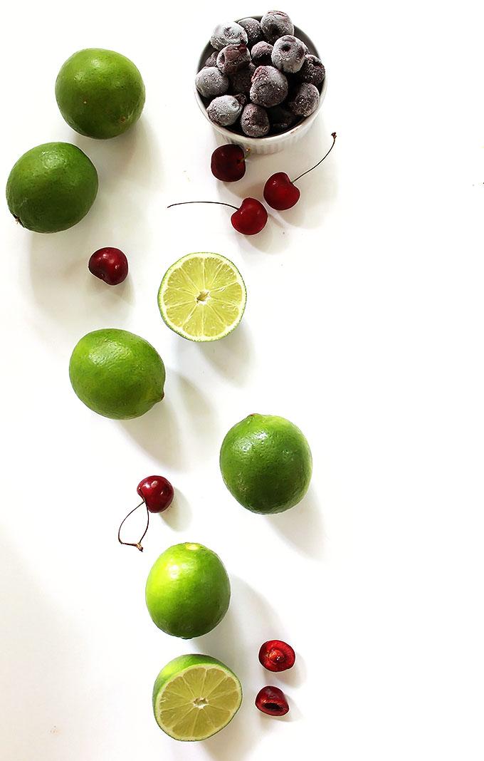 Cherry Limeade. The perfect refreshing summertime drink. Easy to make. #vegan #glutenfree #sumemrtimedrink