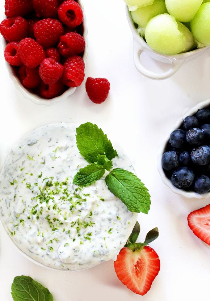 Coconut Mojito Fruit Dip. A refreshing fruit dip. Coconutty, minty, with a hint of lime and just the right amount of sweetness. #glutenfree #vegan #refinedsugarfree