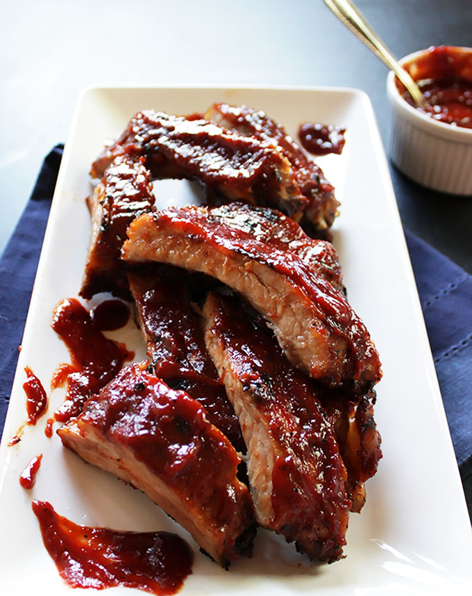 Easy Ribs with Cherry Bourbon BBQ Sauce