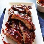 Easy Ribs with Cherry Bourbon BBQ Sauce. Tender. Fall-off-the-bone good! #glutenfree #refinedsugarfree