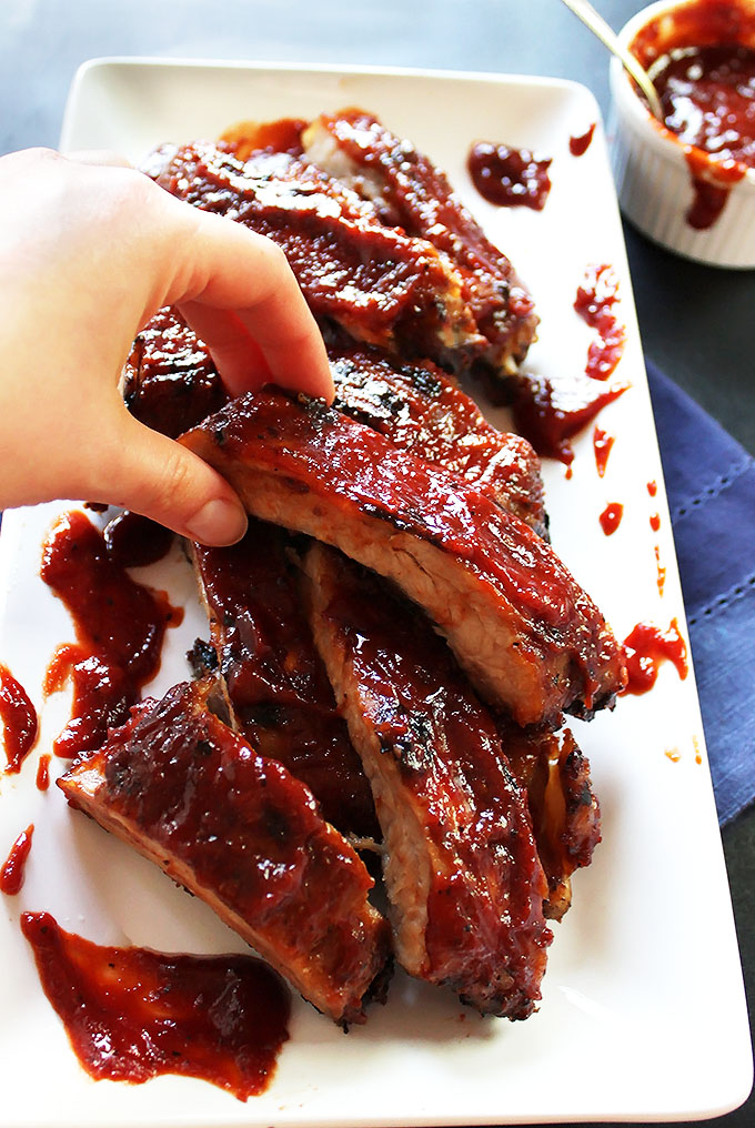 Easy Ribs with Cherry Broubon BBQ Sauce. Simple to make. The perfect summertime meal. #ribs