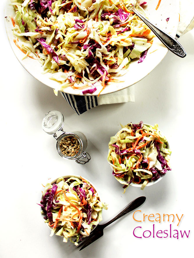 Simple Creamy Coleslaw. Crunchy, Refreshing, Creamy. Perfect for summertime. #glutenfree #vegetarian
