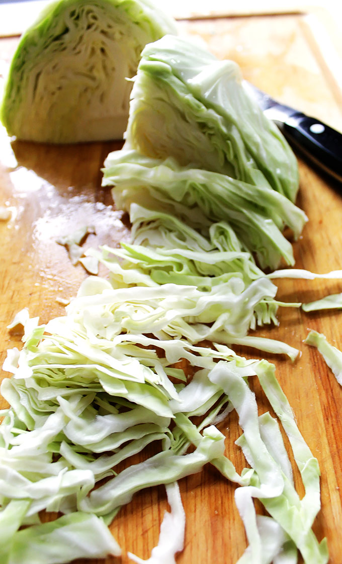 Simple Creamy Coleslaw. Easy to make. All you need is a knife, no special equipment. #vegetarian #glutenfree
