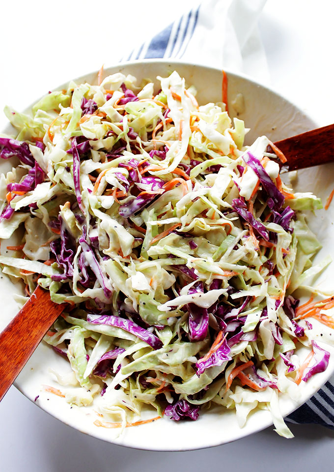 Simple Creamy Coleslaw. Tangy, slightly sweet, and perfectly salted. Crunchy and refreshing. #glutenfree #vegetarian