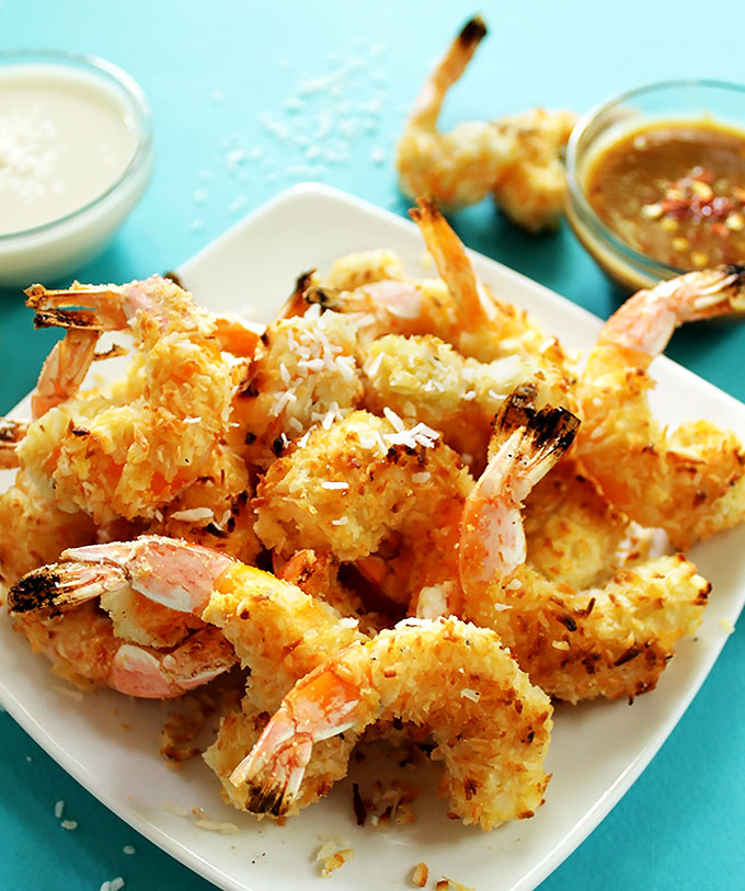 Baked Coconut Shrimp with 2 dipping sauces. Crispy, coconutty. Easy to make, no frying required! Perfect for a summertime meal! #glutenfree #shrimp | robustrecipes.com