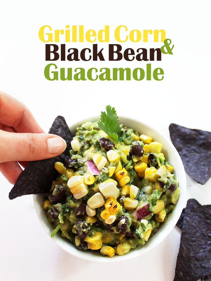 Grilled Corn and Black Bean Guacamole. Filled with sweet, smoky corn and velvety black beans. Only requires 9 ingredients! #vegan #glutenfree #guacamole #recipe | robustrecipes.com