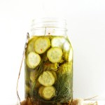 Spicy Refrigerator Pickles. Crunchy. Refreshing. Super easy. No canning required! Only takes 3 days to pickle in the fridge. #vegan #glutenfree