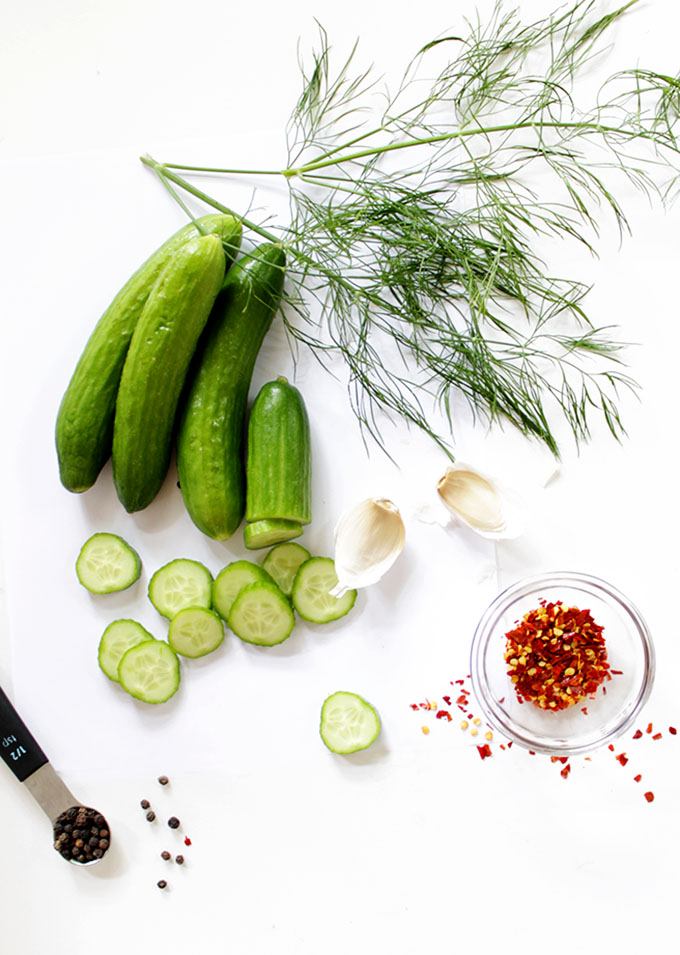 Spicy Refrigerator Pickles. No canning required. Super easy. Customizable. #vegan #glutenfree