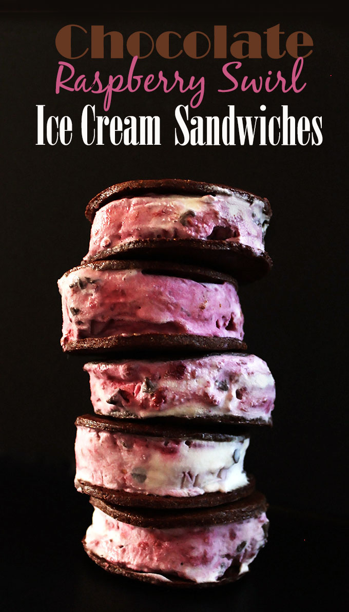 Chocolate raspberry swirl ice cream sandwiches. Crunchy cookies, melty raspberry ice cream. Delicious. Easy to make! #vegan #glutenfree #icecream | robustrecipes.com