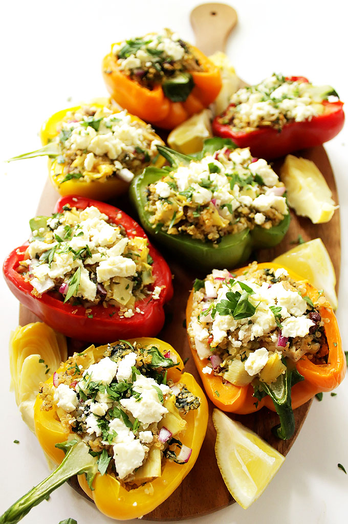 Greek Quinoa Stuffed Peppers. Filling, satisfying, bursting with flavor. #glutenfree #recipe | robustrecipes.com
