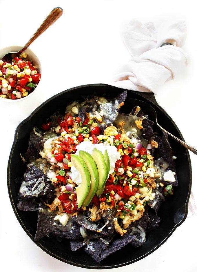 Shredded Chicken Nachos with Corn Pico De Gallo