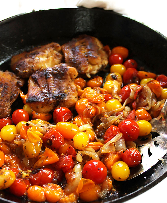 Pan Seared Cod with Blistered Tomatoes. An easy, flavorful, healthy 1-pan meal! #glutenfree | robustrecipes.com