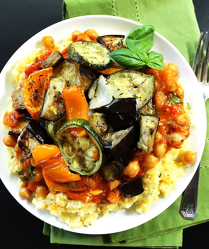 Roasted Ratatouillie with Polenta. A delicious, easy, veggie packed meal! #glutenfree #vegetarian | robustrecipes.com