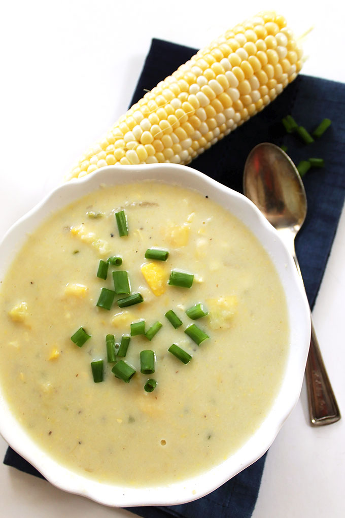 Zucchini and Corn Chowder. Super easy to make. Perfect soup to transition into fall. #soup #glutenfree #vegetarian   robustrecipes.com