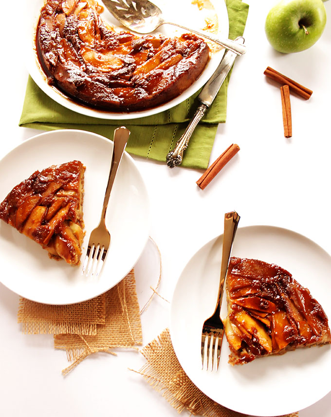 Caramel Apple Upside Down Cake. Easy to make and perfect for fall-time. #glutenfree